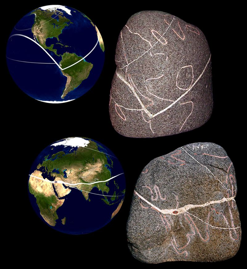 The largest of the artifacts found at la man ecuador is a torso world map stone mortar filled engraved megalithic stone whose pink lines show the known continents and one landmass each in the atlantic and pacific which gumiabroncs Choice Image