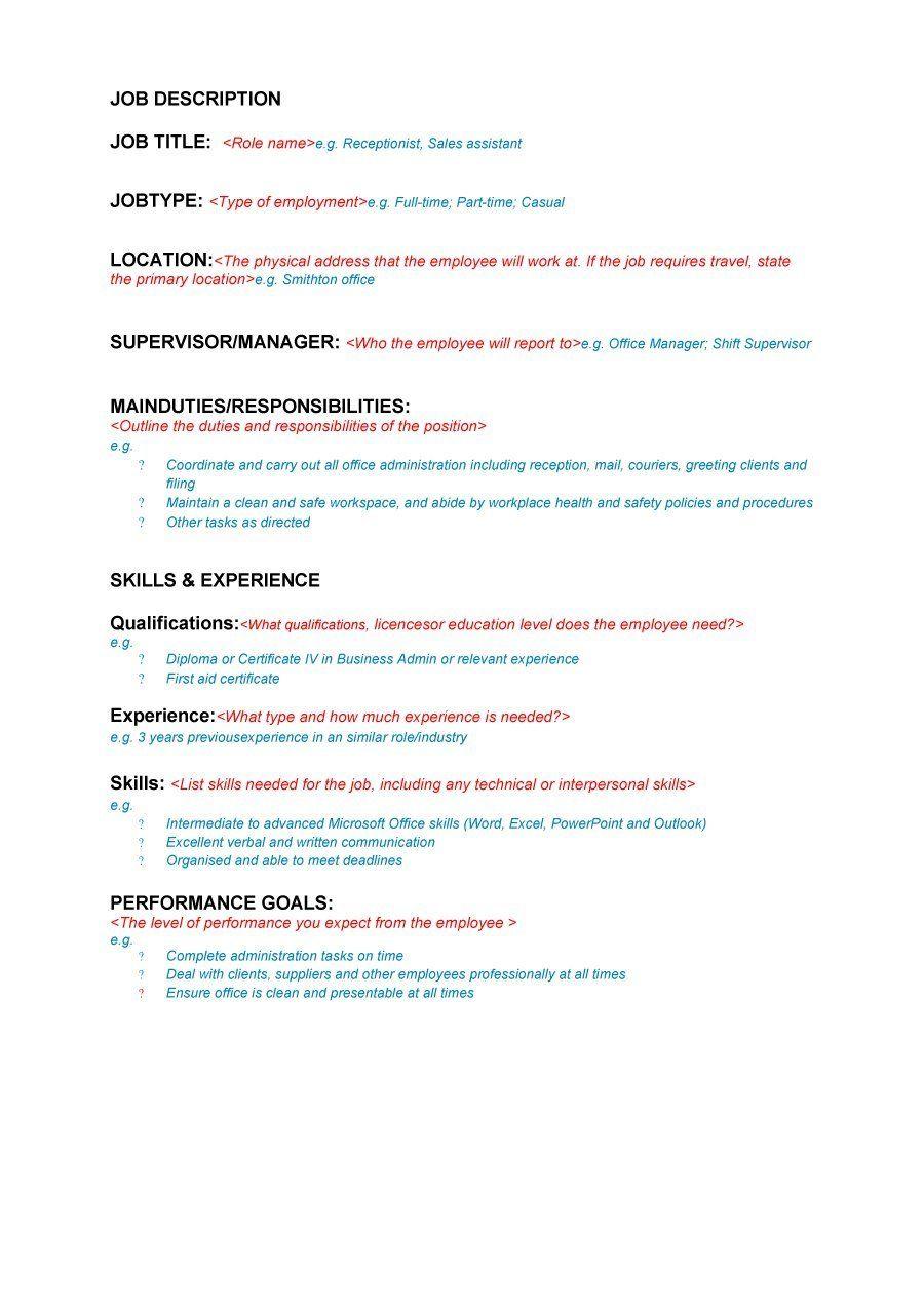 47 Job Description Templates & Examples ᐅ Template Lab
