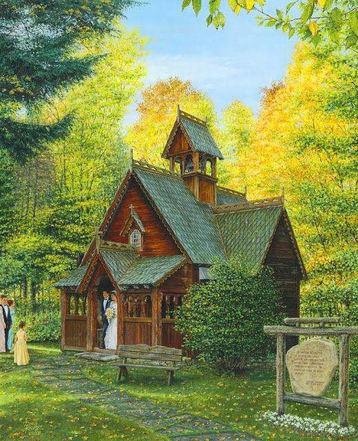Paisajes con casas flores y arboles de doug kreuger - Cuadros de casas de campo ...