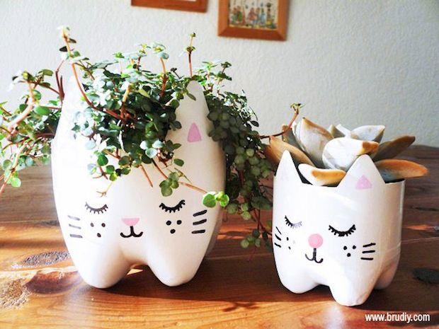 Tiestos gatos hechos con botellas de plástico