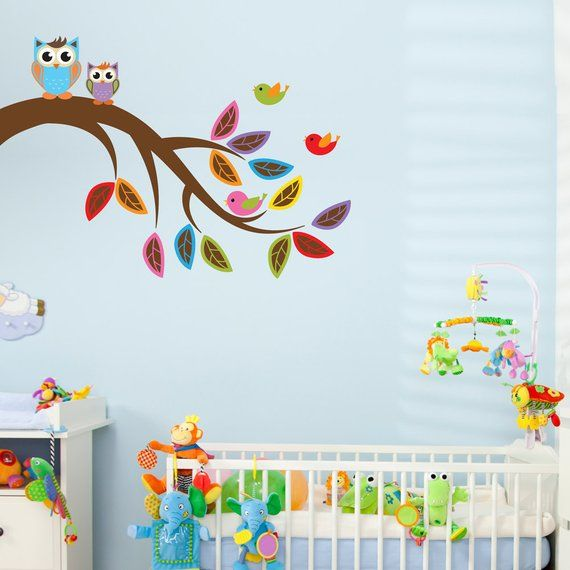 brother and sister own printed wall decal-nursery tree sticker, owl