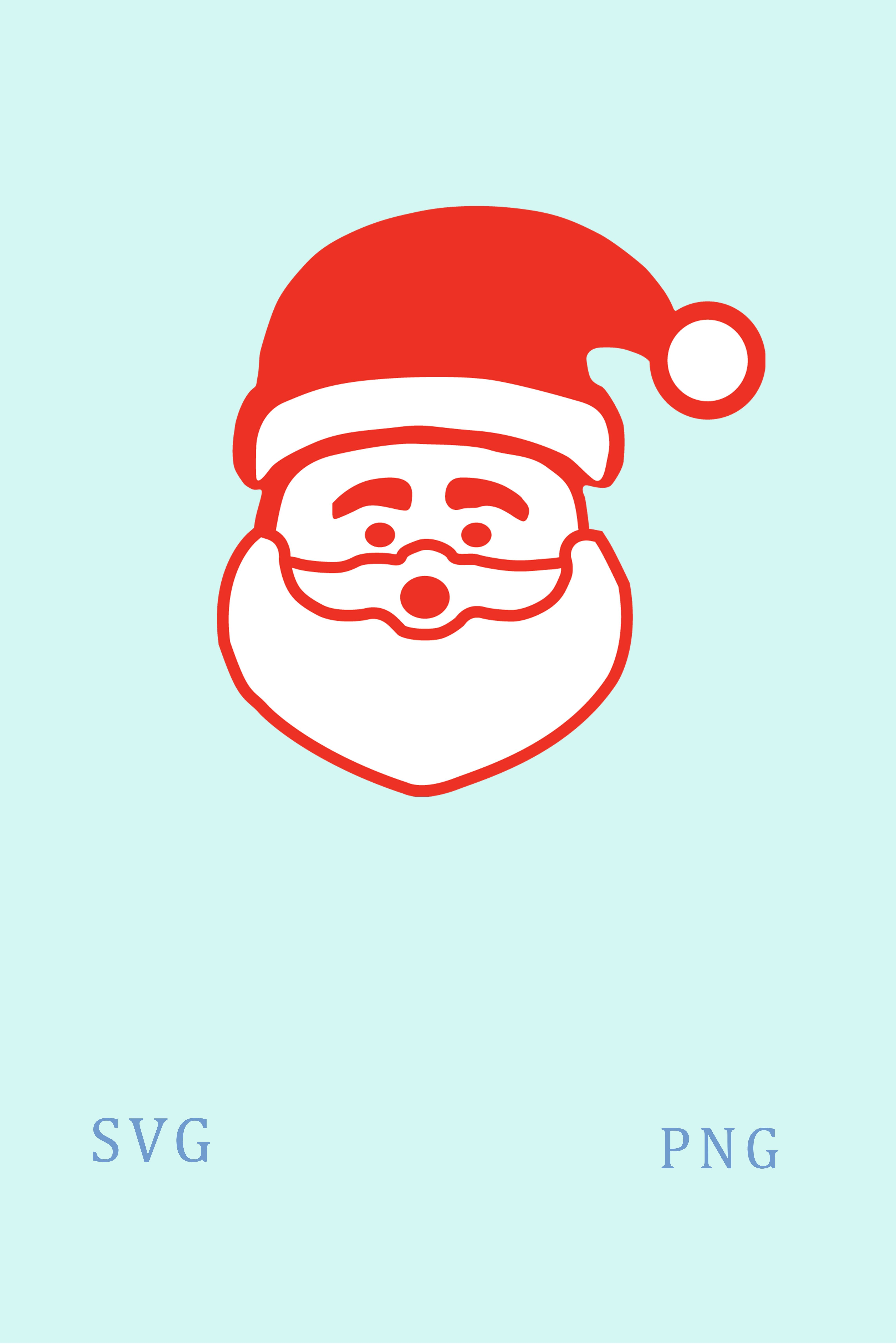 Santa Face Svg Vector Clipart Digital Silhouette And Cricut Etsy Santa Face Etsy Clip Art