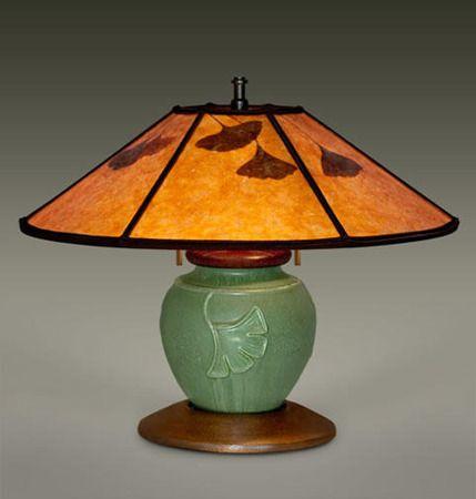 Ephraim Ginkgo Ephraim Pottery Lamp William Morris Studio Mission Lighting Art Nouveau Lighting Pottery Lamp Lamp