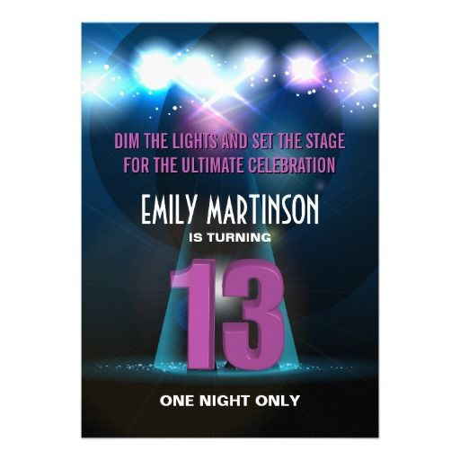 stars 13 years old birthday party invitations Birthday party ideas