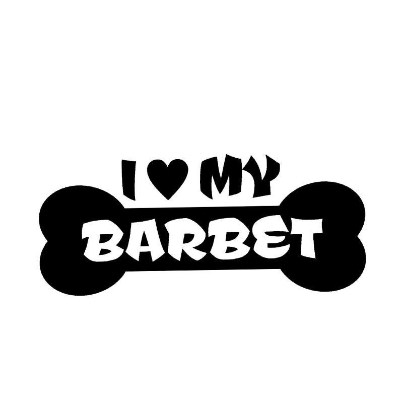 Wholesale 10pcs lot 20pcs lot i love my barbet dog bone decal sticker car