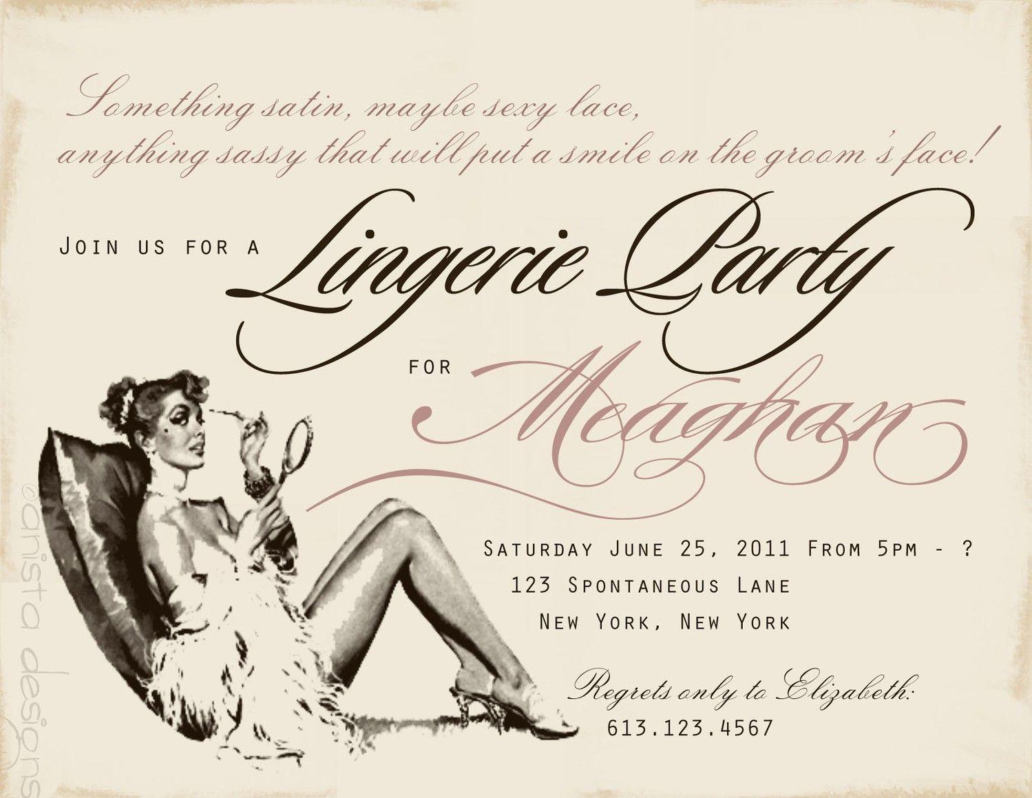 Vintage Bachelorette Party invitations/Lingerie Party invitations ...