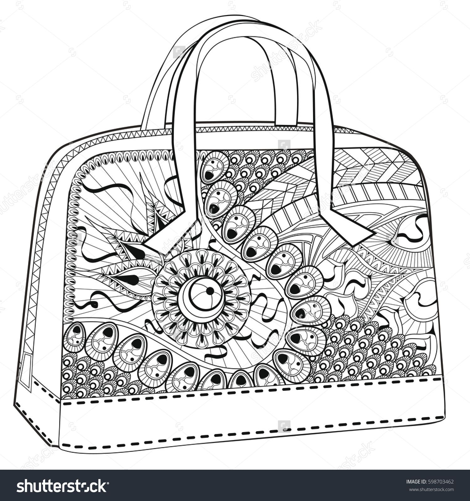 Coloring book bag - Bag Coloring For Relaxation White Background Fashion