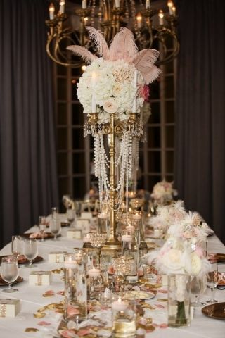 1920s Wedding Centerpiece Pearls And Feathers Gatsby Centerpiece Wedding Pearl Centerpiece Wedding Deco