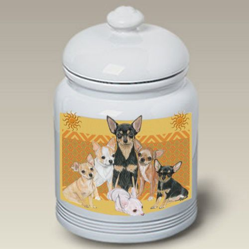 Chihuahua Cookie Jar Beauteous Ceramic Treat Cookie Jar  Chihuahua Group Ps 52046  De La Faune Decorating Inspiration