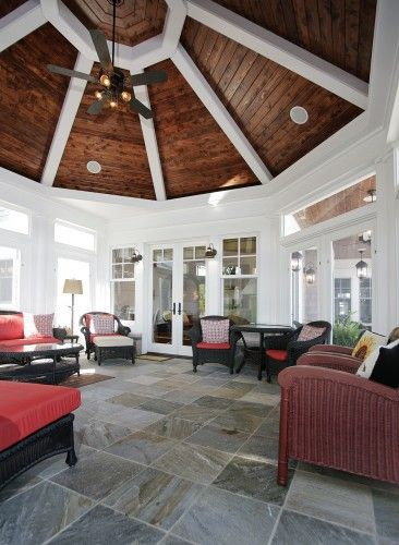 Board Ceiling In An Octagonal Screen Porch By Martin Bros