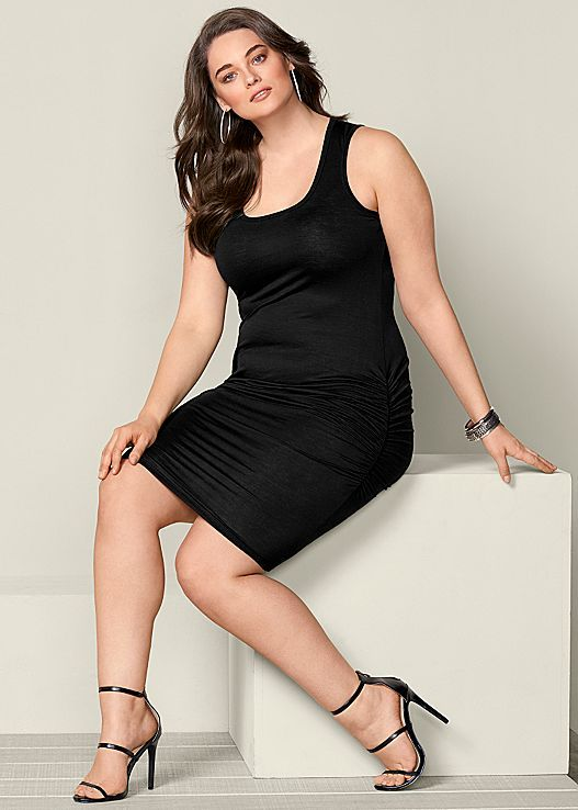 283c786ca1b Slip on this sexy dress and glow with confidence. Venus plus size ruched  tank dress.