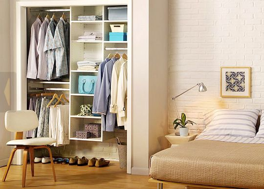 Find this Pin and more on Closet Ideas by revagoldberg. Well organized wide  shallow closet    Closet Ideas   Pinterest