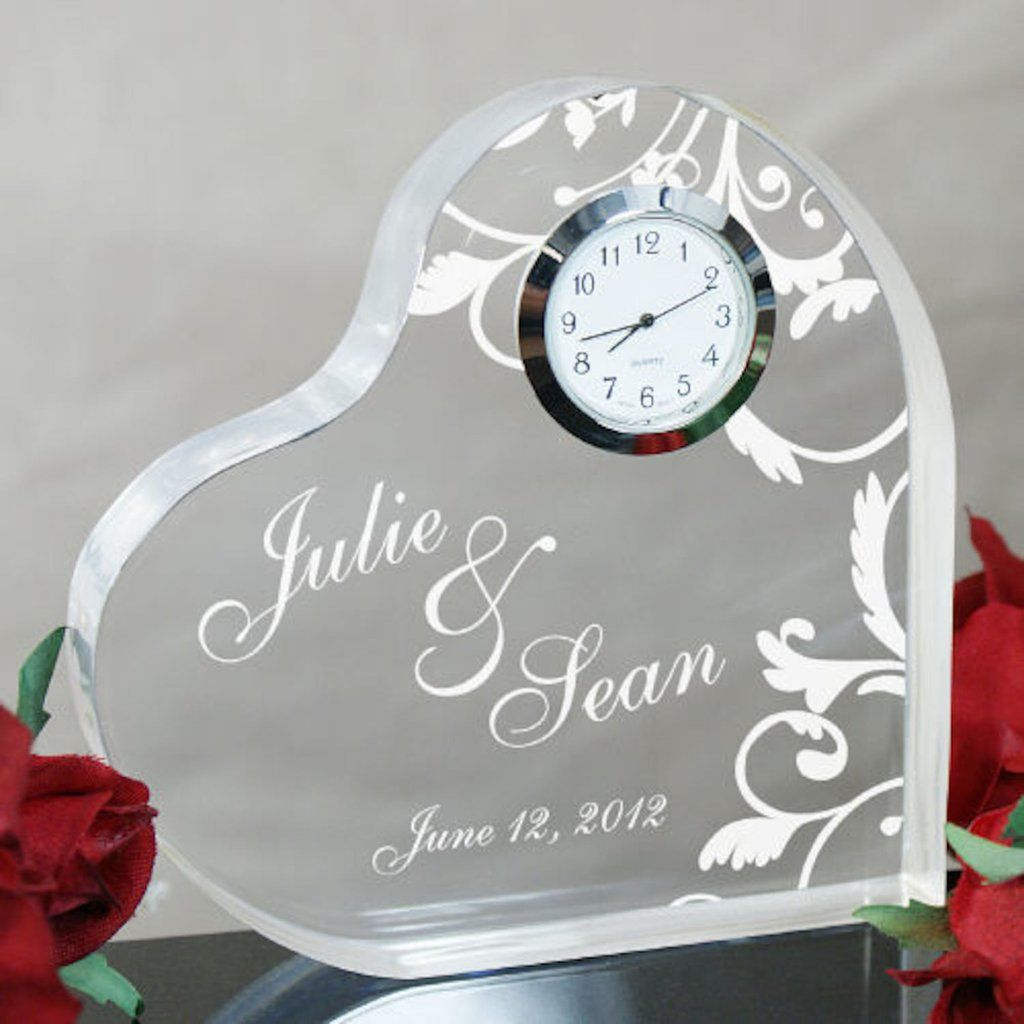 Personalized Engraved Couples Heart Clock Keepsake Gifts Happen Here Anniversary Gifts For Couples Best Anniversary Gifts Homemade Wedding Favors