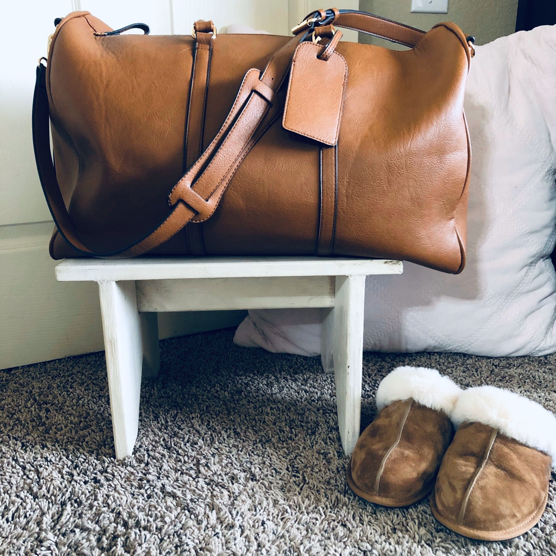 Traveling for the holidays This solesociety bag is the perfect weekender or carryon bag This vegan leather bag is usually 8998 but the cognac pictured and toasted almond...