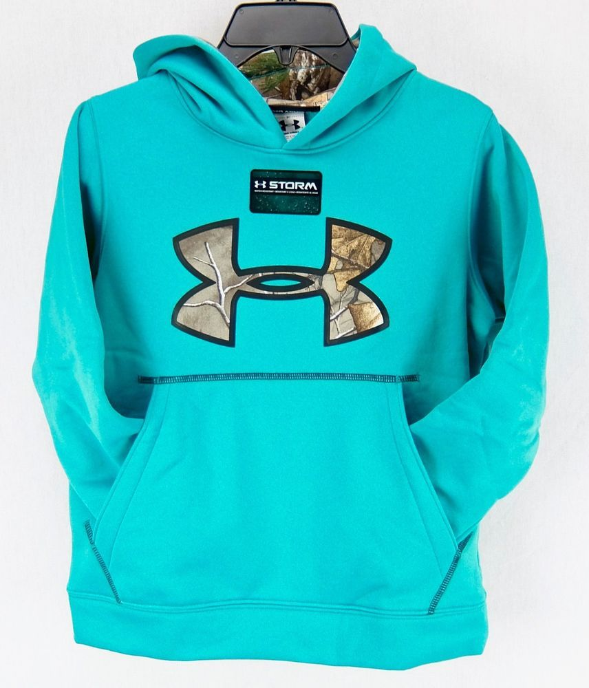 35f30573e1bf Under Armour Boys Storm Fleece Hoodie Blue Green Camo Accents Youth XS 7   Underarmour  Hoodie  Everyday