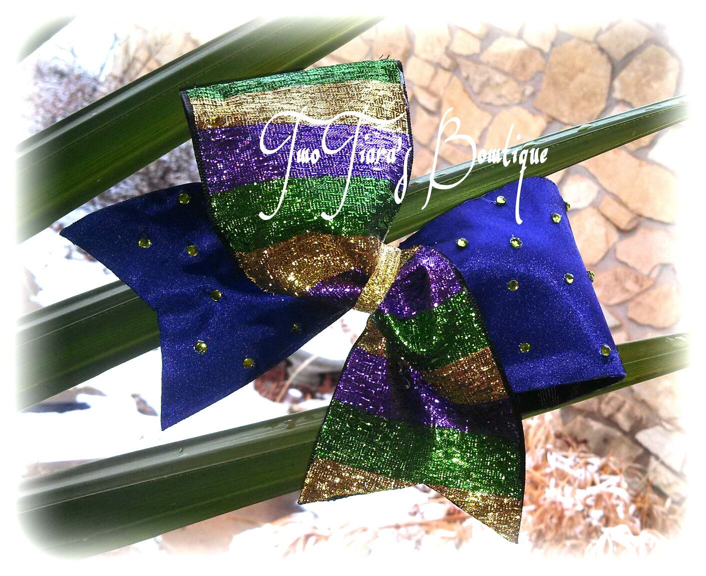 Mardi Gras Tick Tock Cheer Bow Team Discounts All Star Dance by Two Tiara's Bowtique on Etsy or Facebook group