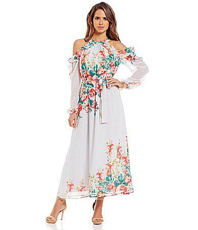Gianni Bini Amani Cold Shoulder Floral Maxi Dress #Dillards | Das a ...