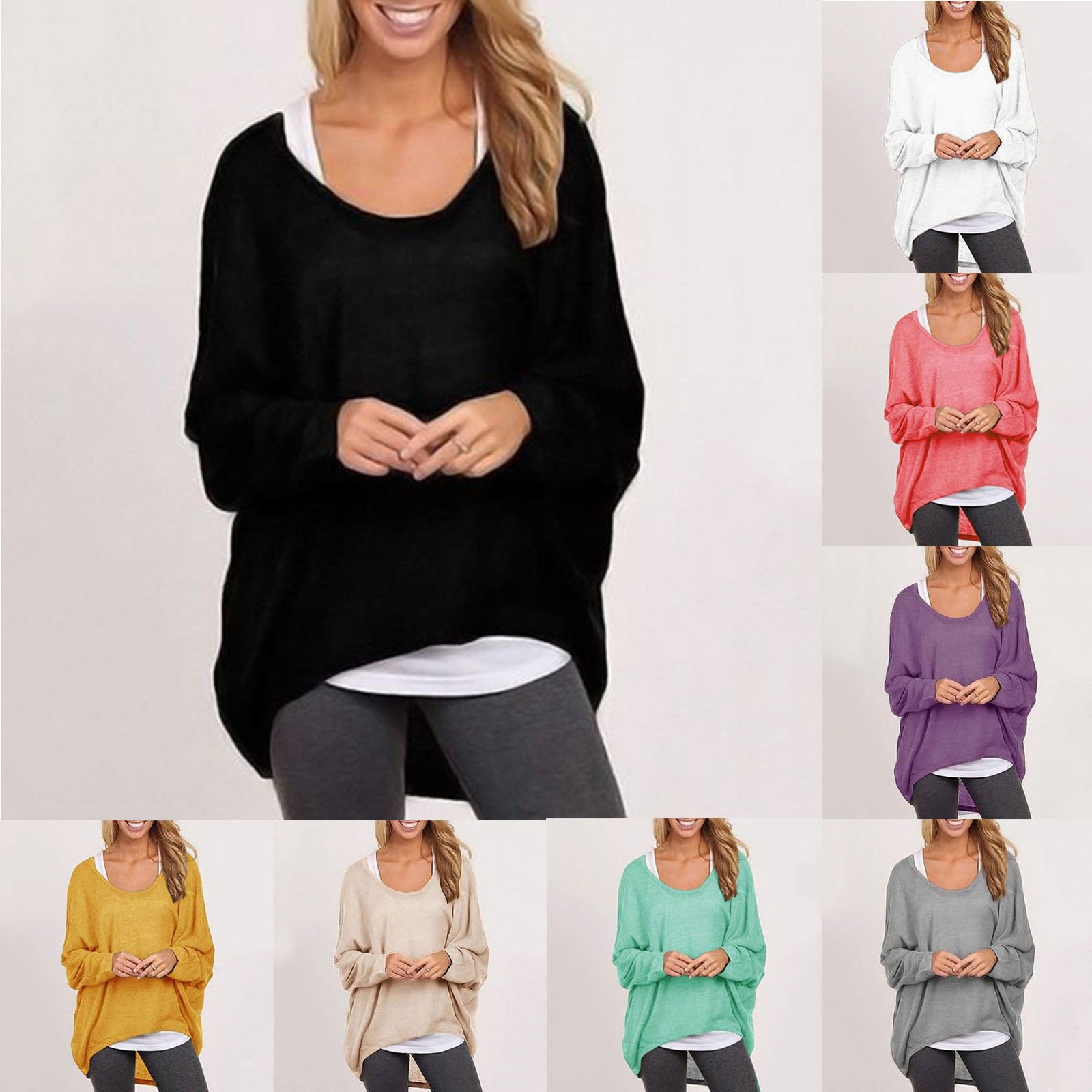 Womens loose long batwing sleeve shirt baggy plus size winter tops