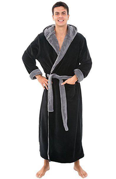 Mens Hooded Bathrobe Black Fleece 1XL 2XL Full Length Soft Long Spa Robe XL   DelRossa  Robes 9727692e3