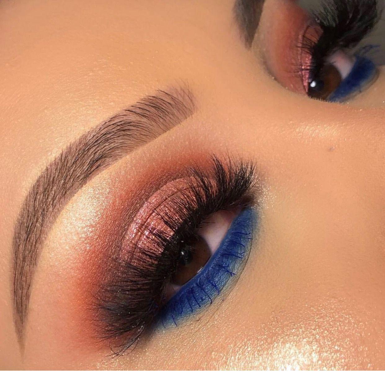 Photo of Rose gold navy blue  eye makeup