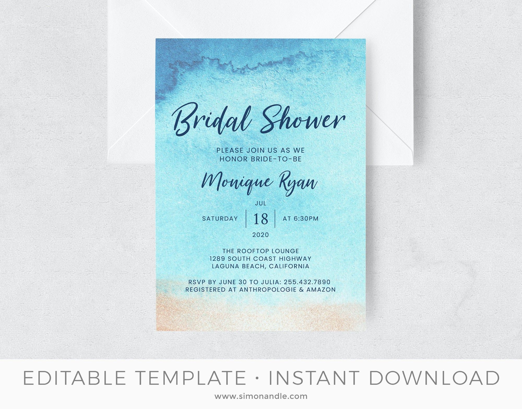 Beach Bridal Shower Invitation Template