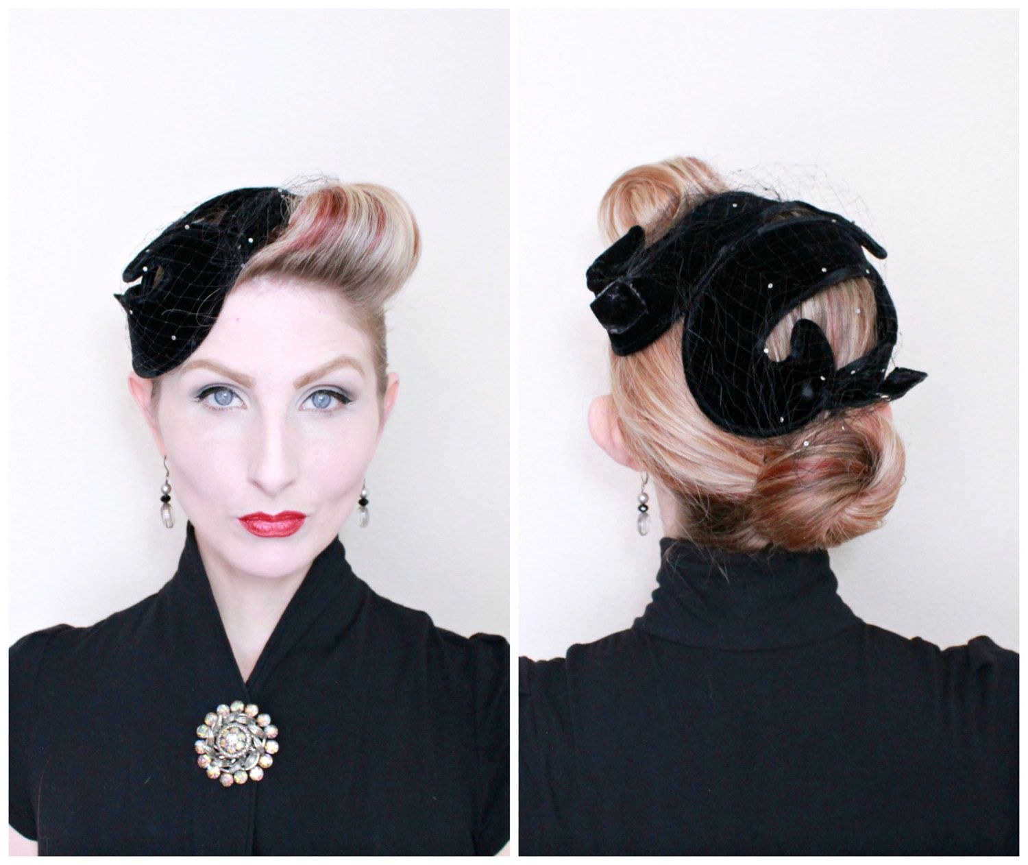 2fe97e03bd59 1950s Hat / VINTAGE / 50s Hat / Swirls / Fascinator / Rhinestones / Black  Velvet / PRETTY by HighHatCouture on Etsy