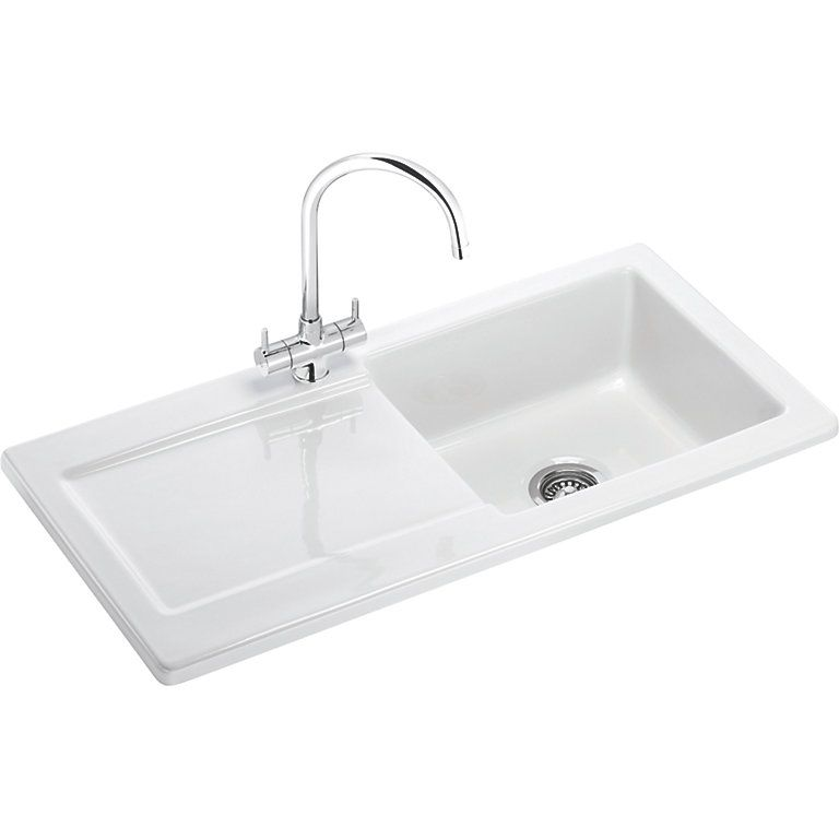 Franke Livorno 1 Bowl White Gloss Ceramic Kitchen Sink Ceramic Kitchen Sinks Sink Modern Kitchen Sinks