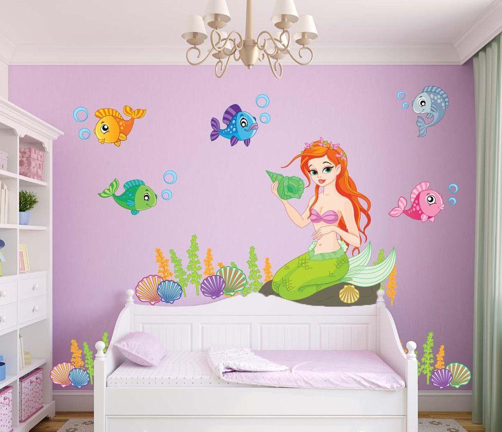Ocean Mermaid Fishes Wall Decal