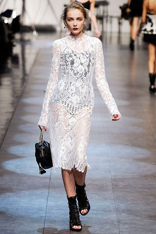 a057bb0584897 Dolce   Gabbana Spring 2010 White Longsleeve Lace Dress