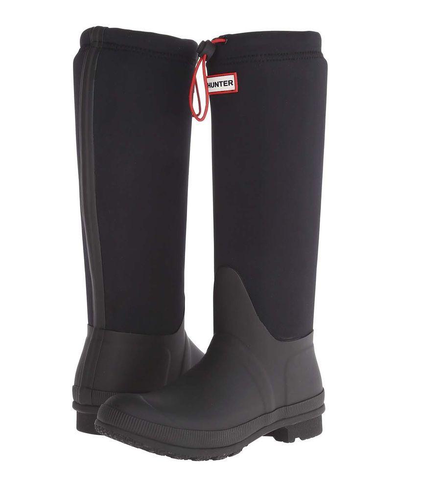 Hunter Original Tour Neoprene Wellington Black Rubber Rain Boots. Women's  ...
