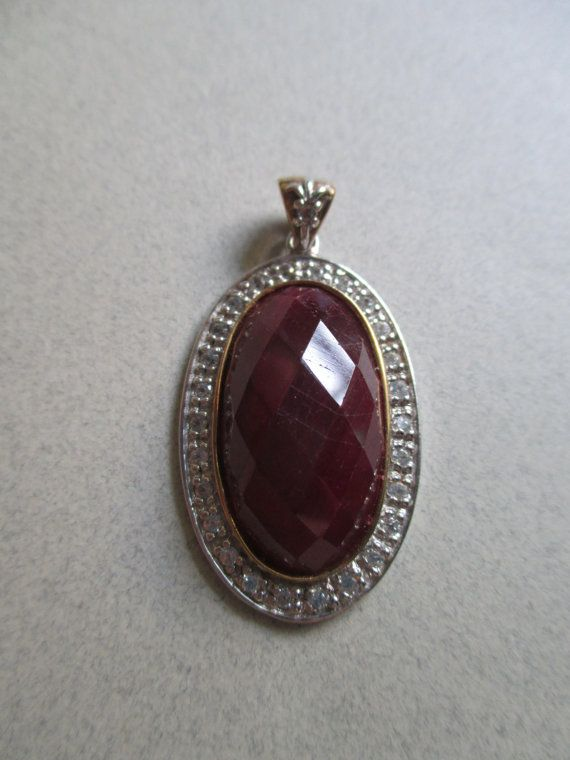 Estate Faceted Genuine Thailand Ruby Cabochon Pendant Sterling Silver 6 Grams Gemstone Fine Jewelry