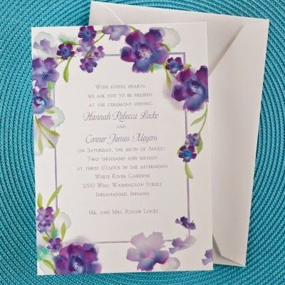 Occasions to Blog: Summer Wedding Invitations (Invitation Link - http://occasionsinprint.carlsoncraft.com/9IF-9IF42J2KPU-Watercolor-Flowers--Invitation--Majestic.pro)