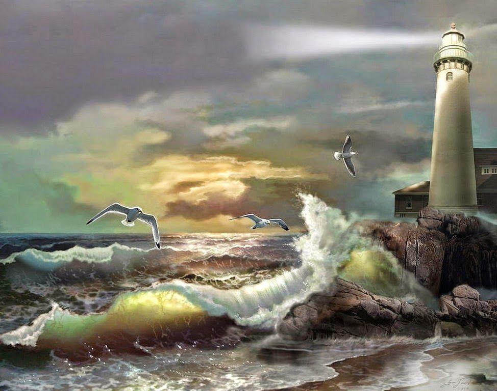 paisajes-marinos-con-faros-en-la-playa   Dibujos para crear ...