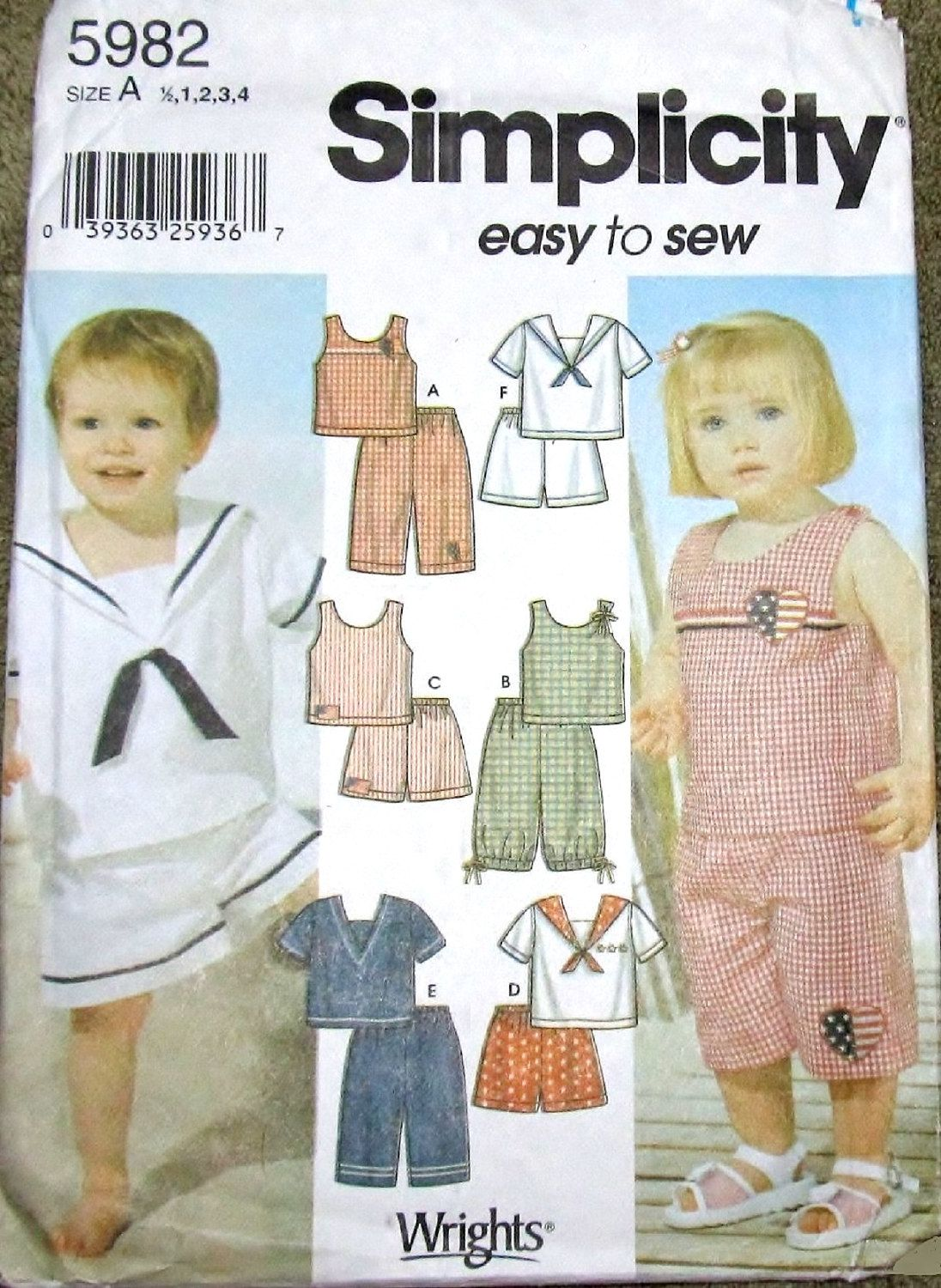 Easy Sewing Pattern Simplicity 5982 Baby Toddler Boy Girl Sailor Top ...