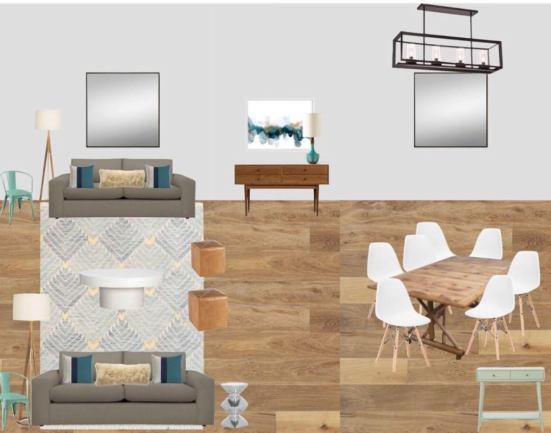 E Design Contemporary Mod Living Room Dining Open Concept Digital Interior Navy Gray Turquoise
