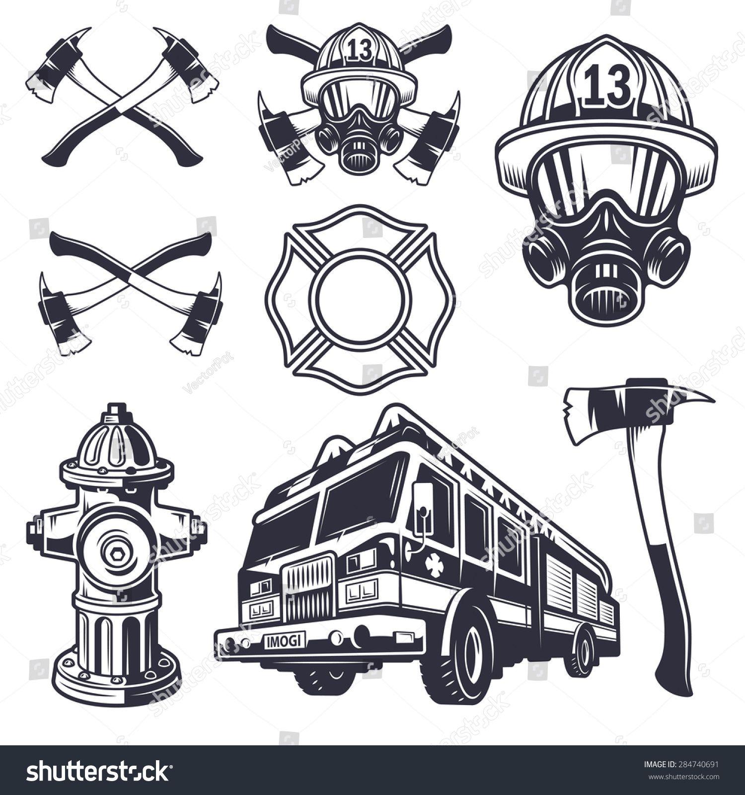 Set Of Designed Firefighter Elements Monochrome Style Bombeiro Desenho Bombeiro Tatuagem De Bombeiro