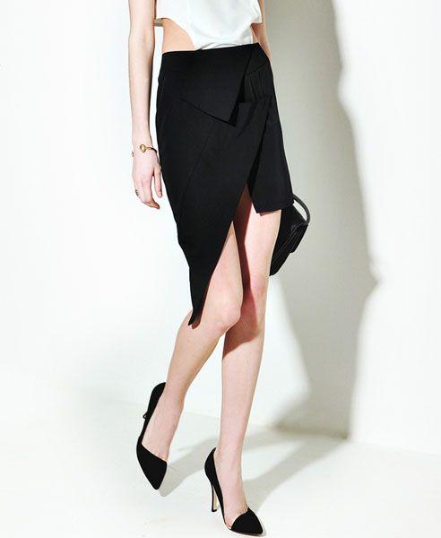 Asymmetrical Bodycon Skirt in Black