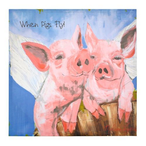 When Pigs Fly Canvas Art Print 14x14 Kirklands