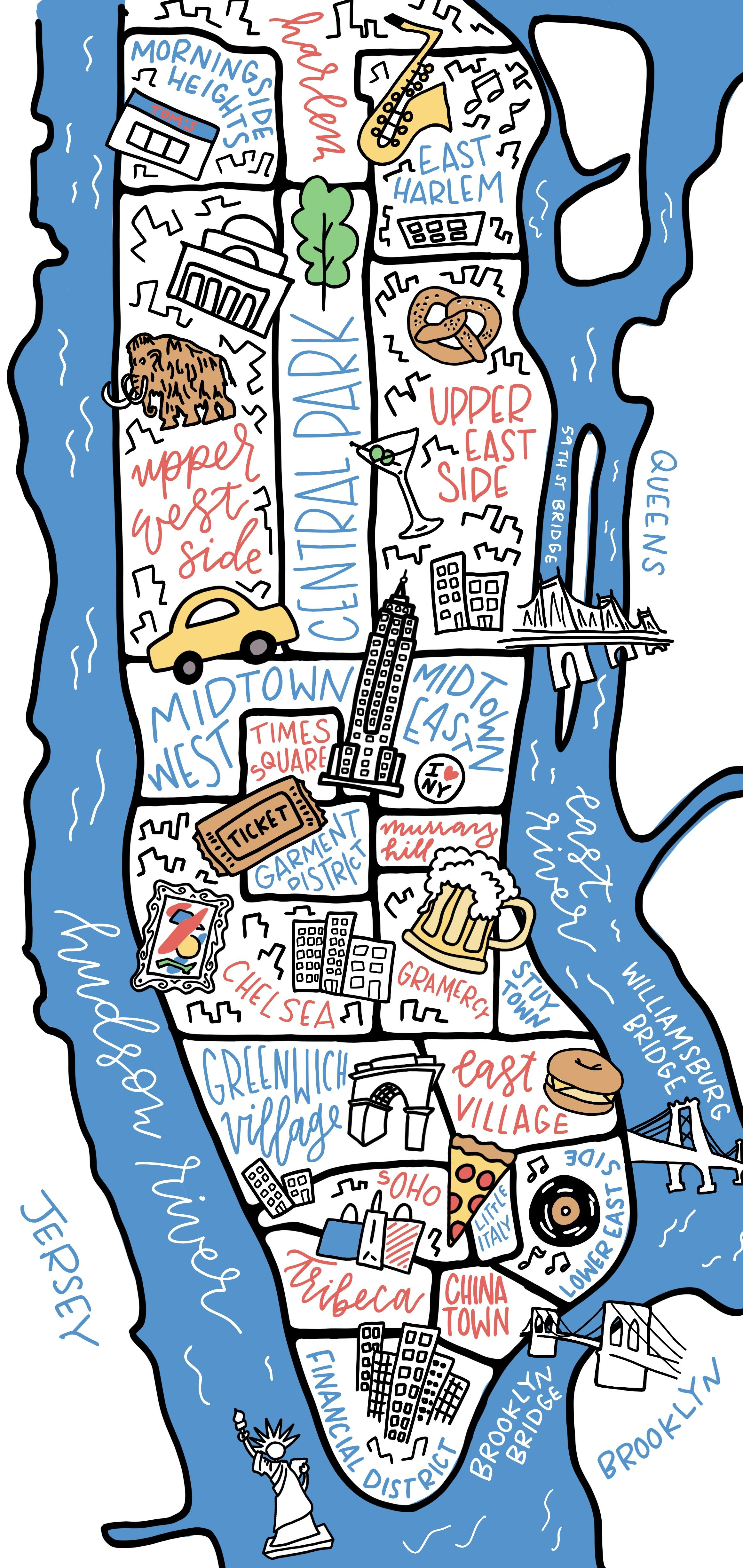 Custom illustrated map of New York City featuring Manhattan