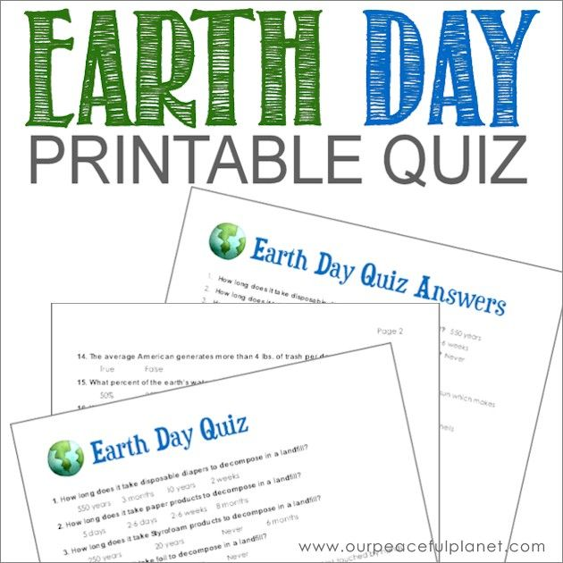 Earth Day Quiz (Free Printable) · Free printable, Earth and Free - free printable quiz