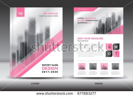 Annual Report Brochure Flyer Template, Pink Cover Design, Business