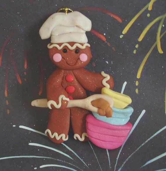 Polymer Clay Christmas Ornament Cake Topper Ginger Baker w Spoon Bowl Gingerbread