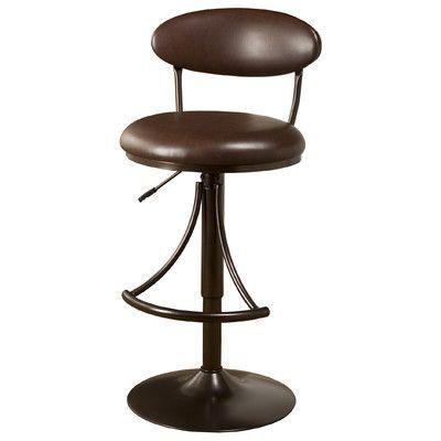 "Hillsdale Venus 24"" Adjustable Swivel Bar Stool Upholstery Color: Brown Vinyl"