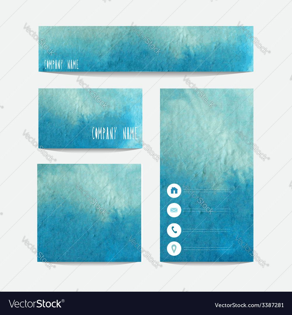 Watercolor blue business templates set design elements can be used watercolor blue business templates set design elements can be used also for business cards greeting cards magicingreecefo Gallery