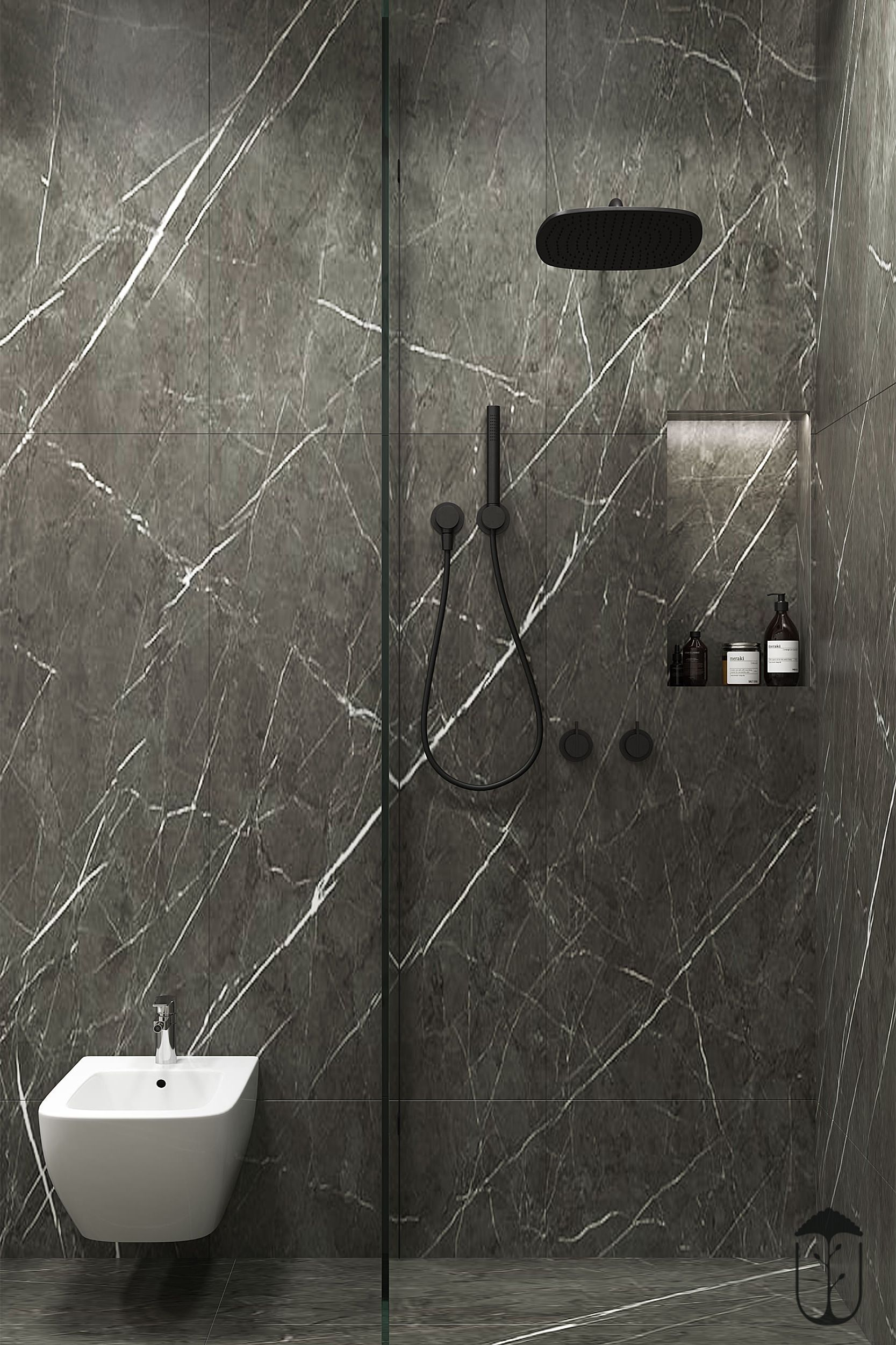 Cocoon Gunmetal Black Rain Shower Combined With Marble In A