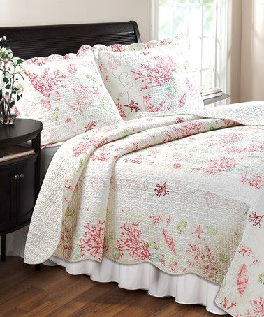 Look At This Zulilyfind Claremont Red Coral Quilt Set By Greenland Home Fashions Zulilyfinds Quilt Sets Bedding Coastal Quilt Sets