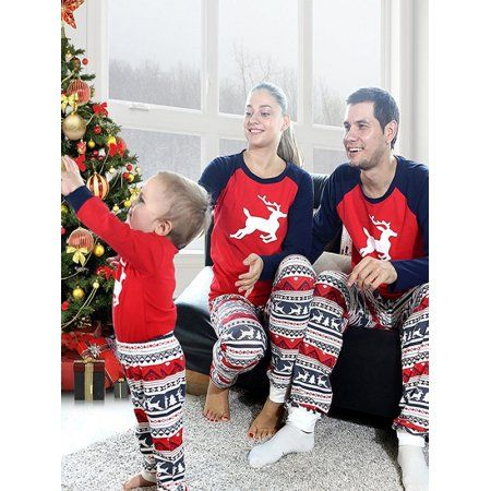 8ef3881be7 ZXZY Matching Family Pajamas Sets Christmas Deer Printing Family Fitted  Suit Sleepwear