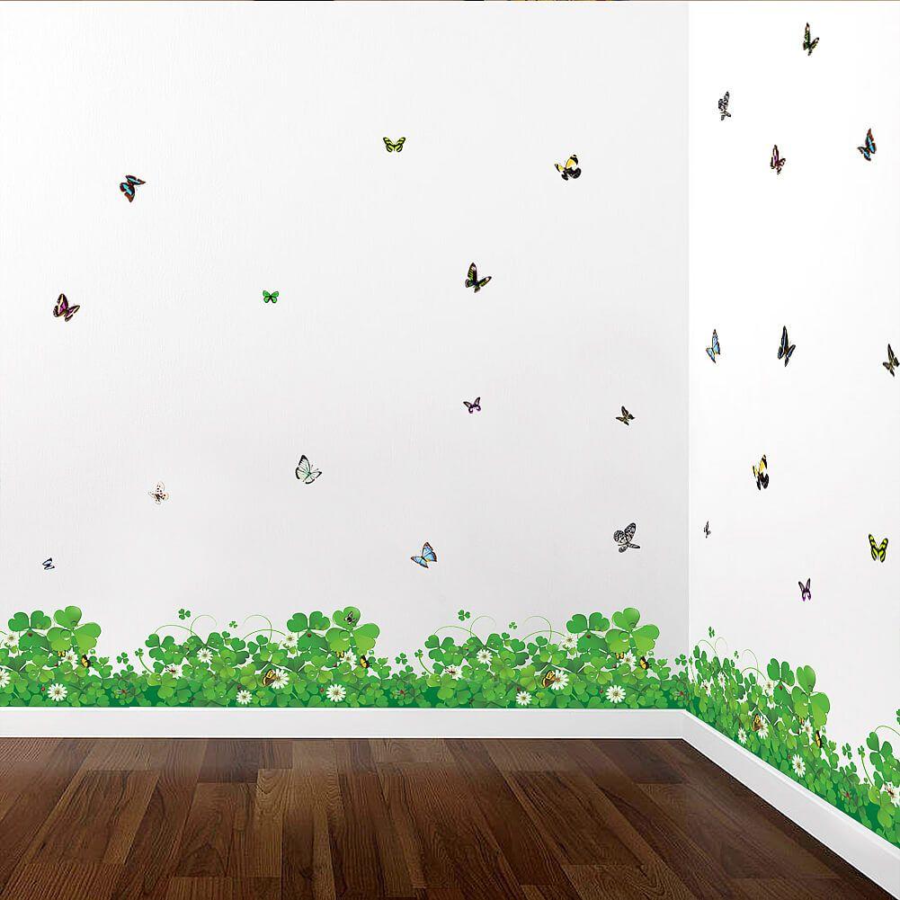 Grass butterflies wall stickers decals flowers tree