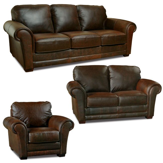 Luke Leather Mark Italian Leather Distressed Chocolate Brown 3 Piece Sofa Set Lukeleather Casual With Images Vintage Leather Sofa Leather Living Room Set