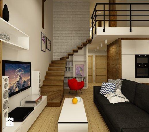 Aranzacje Wnetrz Salon Mieszkanie Ze Schodami Do Nieba Maly Salon Z Kuchnia Styl Nowoczesny Design Me Too Przegladaj Dod Home Living Room Home Design